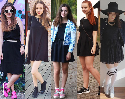 Style Equation: Black Dress + Sneakers