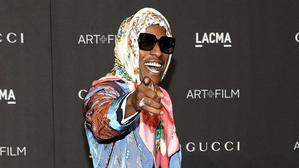 0b4f9b75bf07 A$AP Rocky Wears Gucci Scarf Around Head