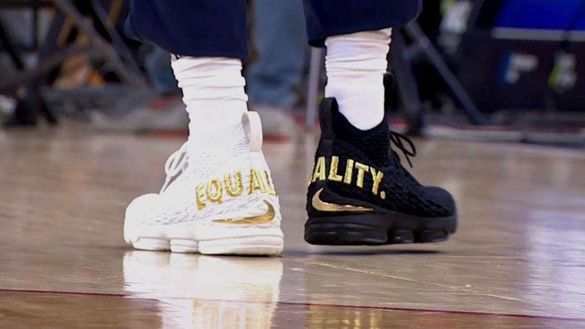 e119bf82f2b75 LeBron James Sends Strong Message With Mismatched  Equality  Kicks