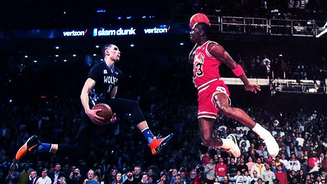 【影片】LaVine與喬丹較量,誰的罰球線灌籃更好看?仿佛都在空中漫步