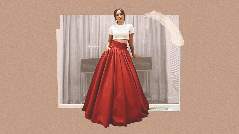 2bf936d00f9dd Lotd: Kathryn Bernardo In Crop Top And Ball Gown Skirt