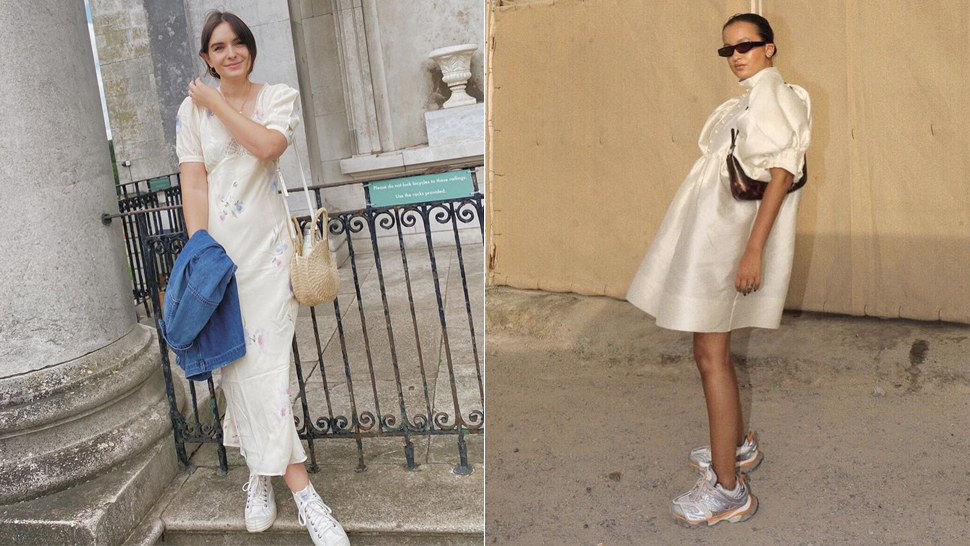 white sneakers dress combination