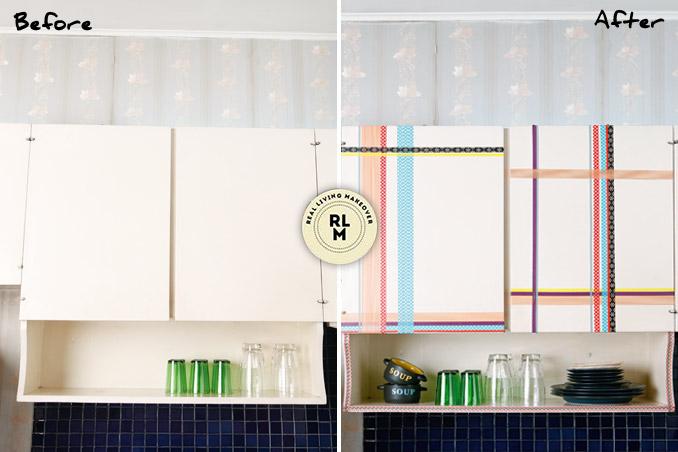 Diy Kitchen Cabinets With Washi Tape Decor