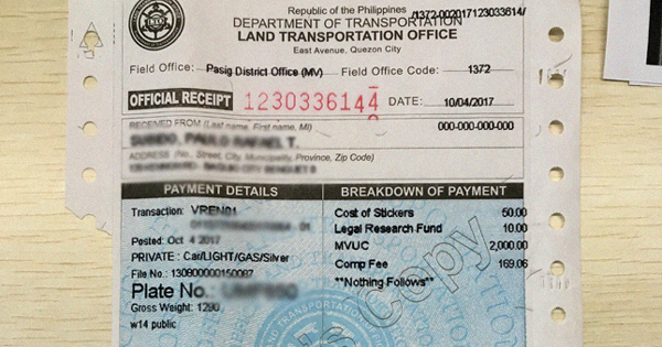 This could be the cost of car registration with the LTO next