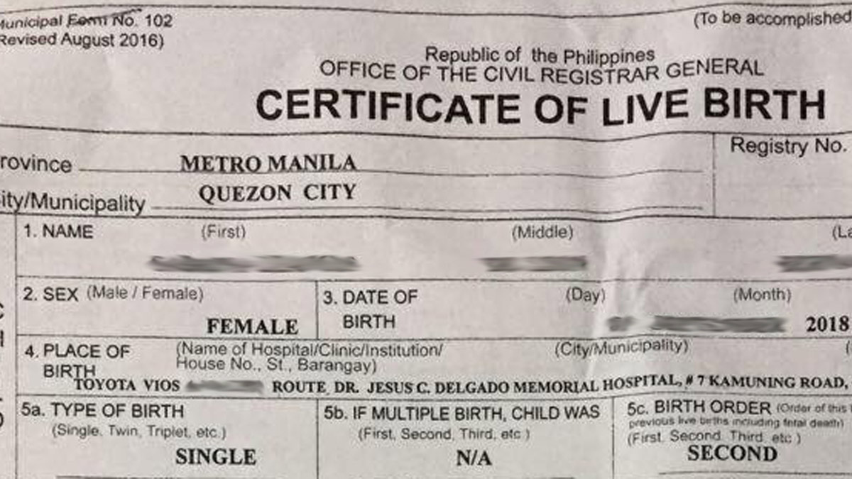 Woman Gives Birth On Edsa While In Car Birth Certificate Proof