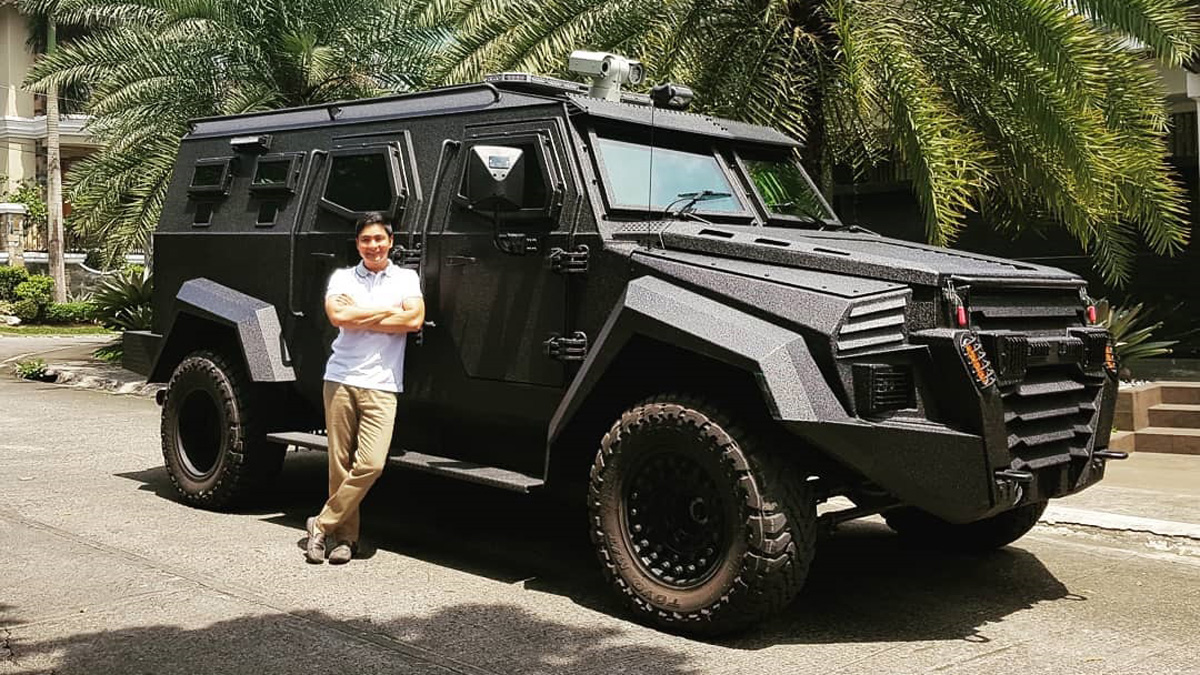 Coco Martin poses with an Inkas Sentry Armored Personnel