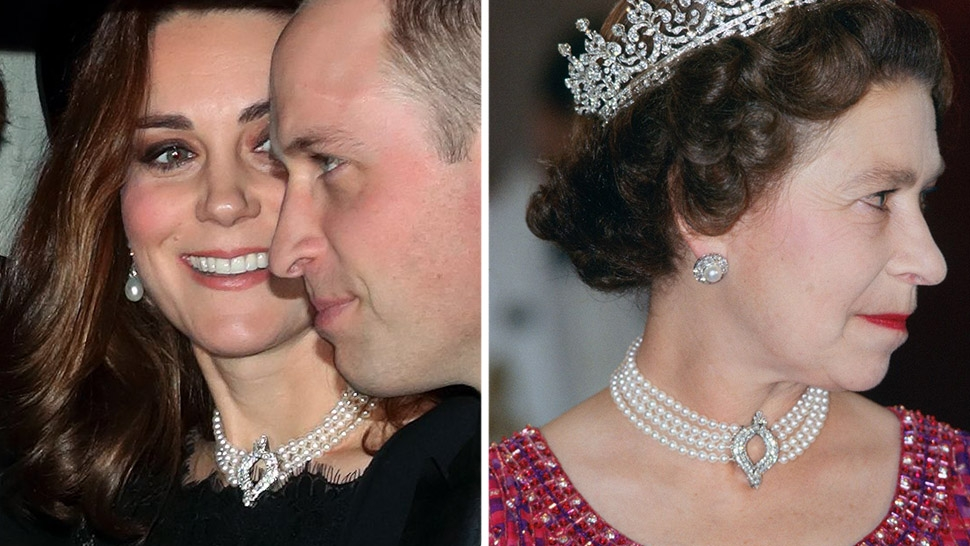 ab8f75e4d9941 Kate Middleton Borrowed the Queen's Pearl Choker For Her Majesty's ...