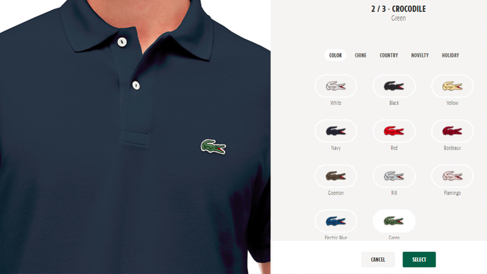 4ffc8433ccc2e8 You Can Now Customize the Crocodile on Your Lacoste Polo Shirt