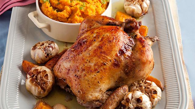 Roast Chicken With Mashed Garlic Sweet Potatoes Recipe