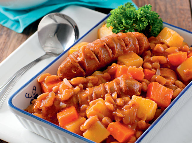 Pork, Sausage, and Bean Stew Recipe