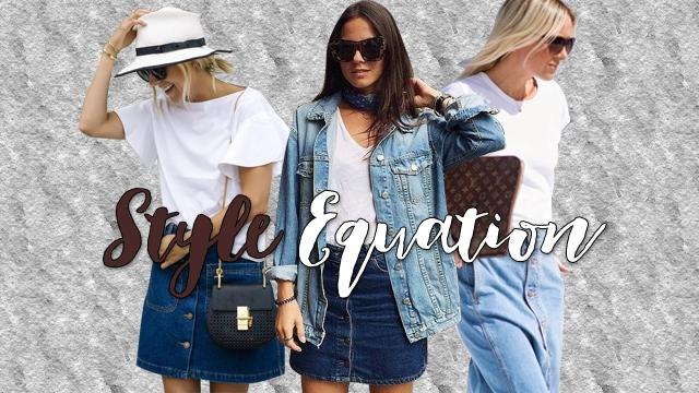 Style Equation: White Top And Denim Skirt