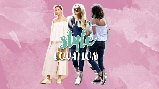 Style Equation: Off-Shoulder Top + Sneakers