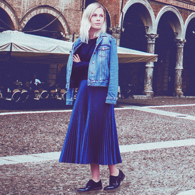 b17b80dde6 ... a fitted top tucked underneath a gold pleated midi skirt. Drape a tough denim  jacket over your shoulders to add a whole dose of attitude to your OOTD.