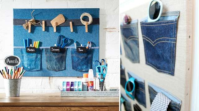 DIY: Denim Pocket Organizers for Your Dorm Room