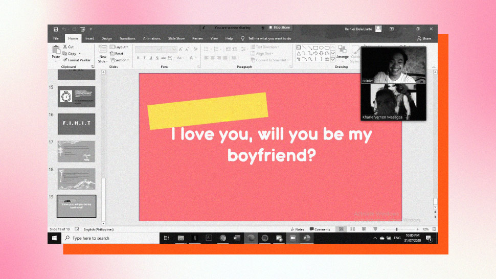 Thanks to Zoom and Powerpoint, This Guy's Boyfriend Proposal Was Successful