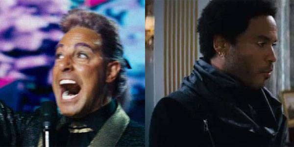 Stanley Tucci as Caesar Flickerman and Lenny Kravitz as Cinna