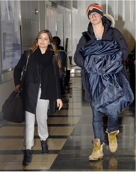 Ansel Elgort and Violetta Komyshan Airport