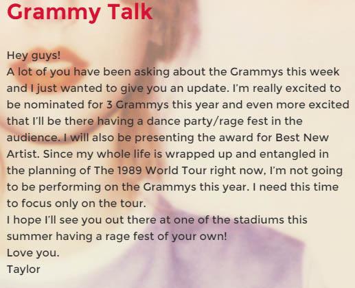 Taylor Swift Grammy Awards 2015