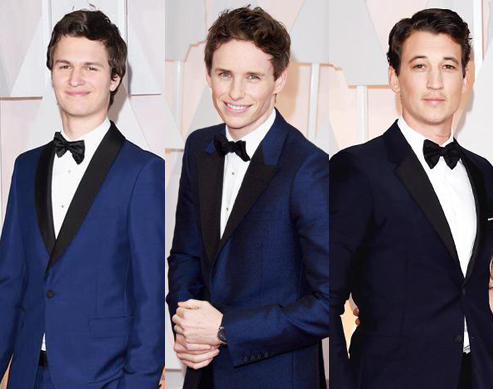 The Boys in Blue: Ansel Elgort, Eddie Redmayne, and Miles Teller on the #Oscars2015 Red Carpet