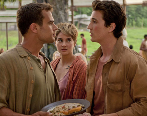 Insurgent Still with Theo James, Shailene Woodley, and Miles Teller