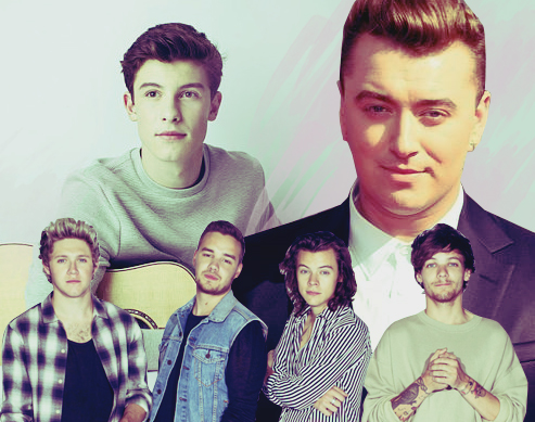 One Direction, Shawn Mendes, Sam Smith