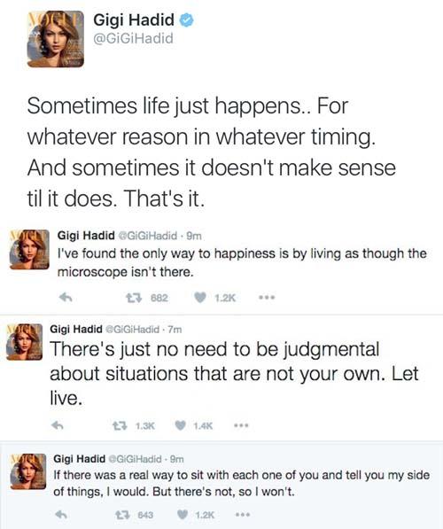 Gigi Hadid Tweets