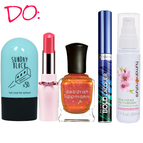Sunblock, Too Cool For SchooL. Lipstick, Etude House. Nail polish, Deborah Lippmann. Mascara, Revlon. Moisturizer, Human Nature.