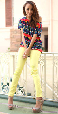 Look We Love: Ashley Madekwe's Neon + Tribal + Pastel Combo
