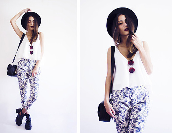 white crop top and floral pants