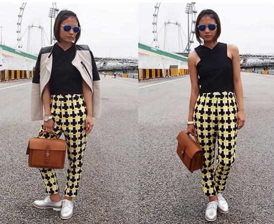 black crop top and printed pants