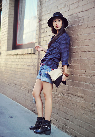 plaid top denim shorts