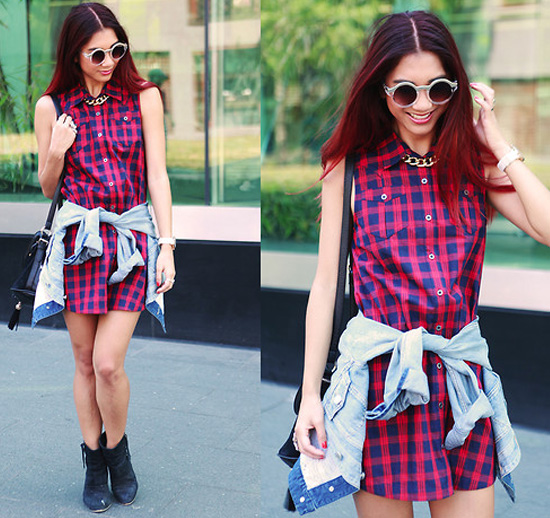 plaid dress, denim shirt around waist