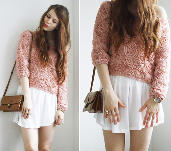 pink sweater and white skirt