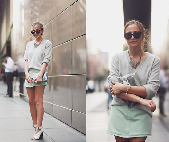 gray sweater blue skirt