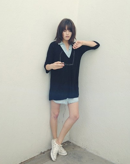 shirtdress and sneakers