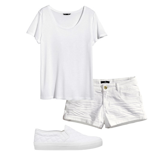 Top and shorts, H&M. Sneakers, Pull&Bear.