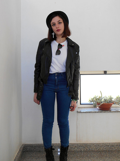 Outfit Idea: Black Leather Jacket and White Shirt