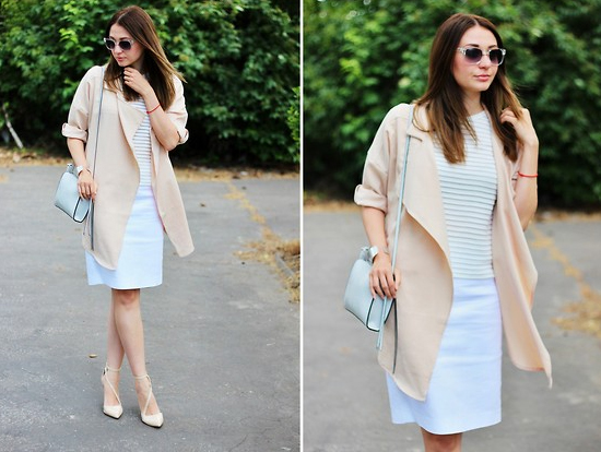 Girl in white-and-beige outfit