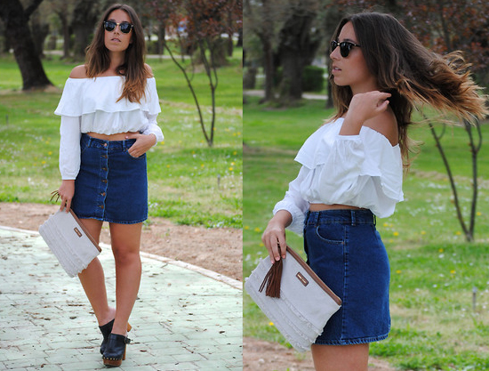 White Top + Denim Skirt