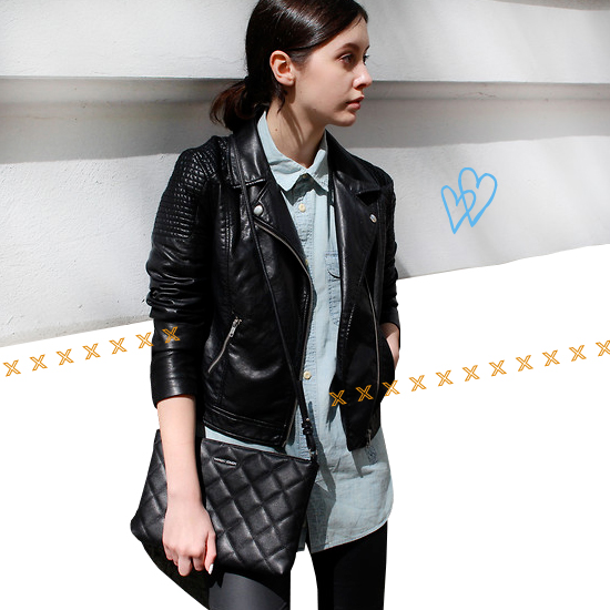 Denim + leather outfit 3