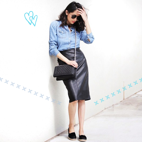 Denim + leather outfit 4