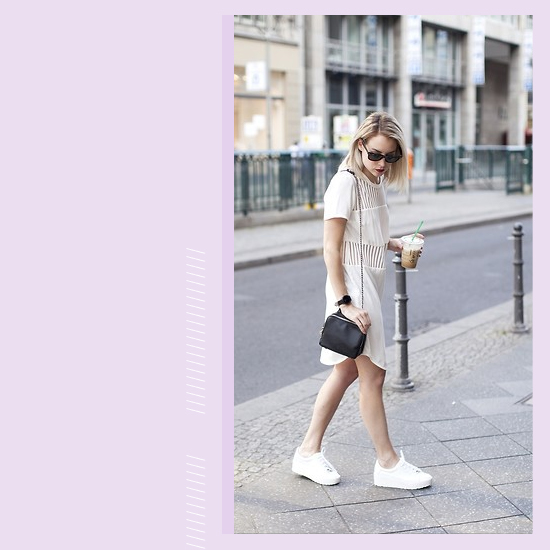 Style Equation: White Dress + White Sneakers Look 3