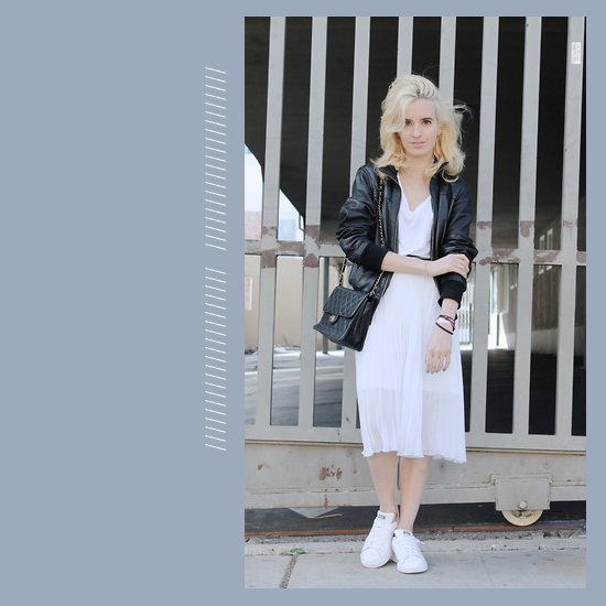 Style Equation: White Dress + White Sneakers Look 4