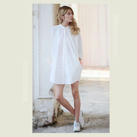 Style Equation: White Dress + White Sneakers Look 5