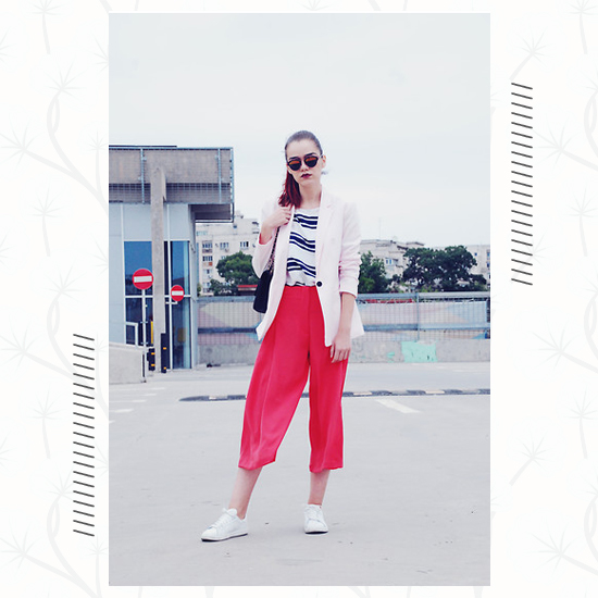 Culottes + White Sneakers Outfit 2