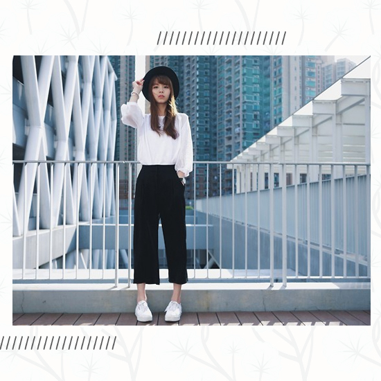 Culottes + White Sneakers Outfit 3