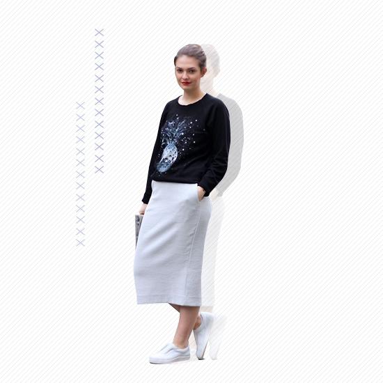 Midi Skirt + White Kicks Look 1