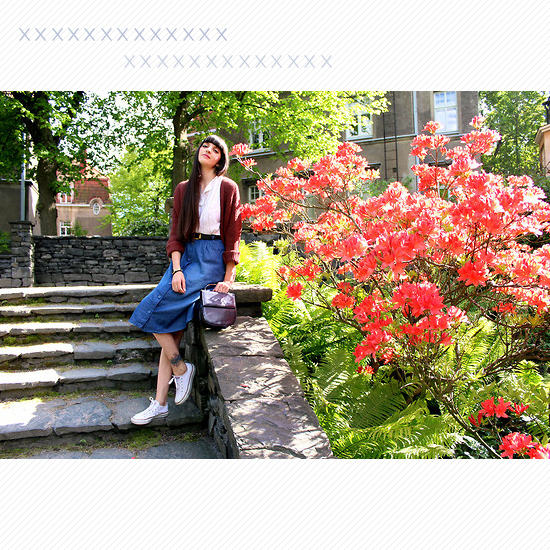 Midi Skirt + White Kicks Look 3