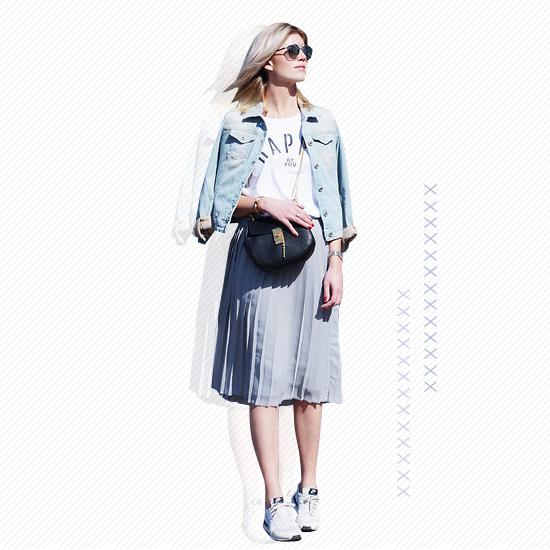 Midi Skirt + White Kicks Look 4