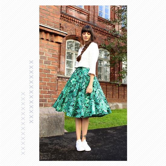 Midi Skirt + White Kicks Look 5